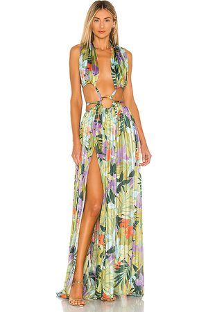 Bronx and Banco Damen Lange Kleider - Tropics Maxi Dress in - Green,Blue. Size L (also in S, M).