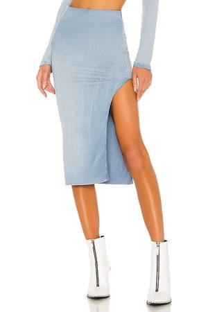 Cotton Citizen X REVOLVE Melbourne Midi Skirt With Slit in - Blue. Size L (also in M, S).