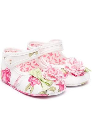 MONNALISA Floral print ballerina pumps with 3d floral detail