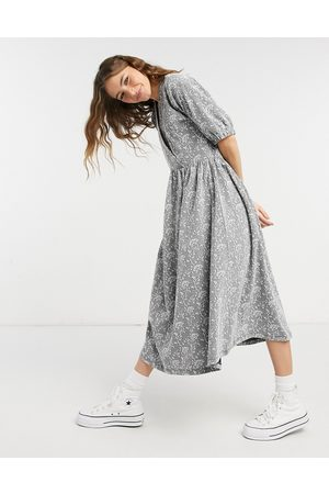 ASOS Jacquard wrap top midi dress in and white floral
