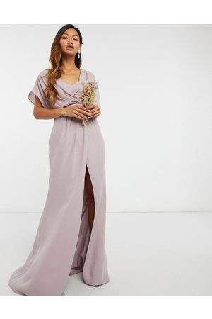 ASOS Bridesmaid short sleeved cowl front maxi dress with button back detail