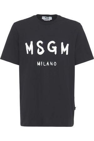 Msgm T-shirt Aus Baumwolljersey Mit Vinyl-logodruck
