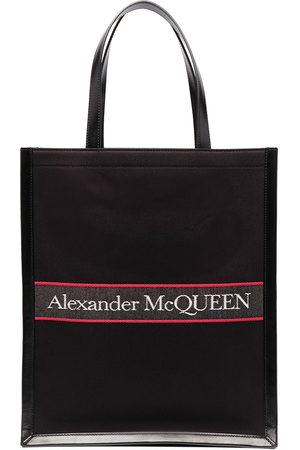 Alexander McQueen Herren Shopper - Embroidered-logo tote bag