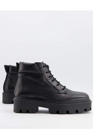 ASOS Advance leather square toe chunky lace up boots in