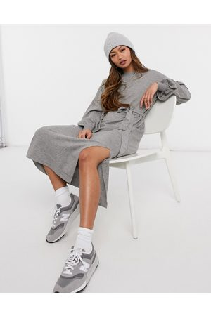 ASOS Maxi dress with tie waist detail in grey