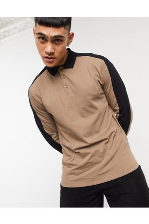 ASOS Organic long sleeve polo shirt with contrast shoulder panels in