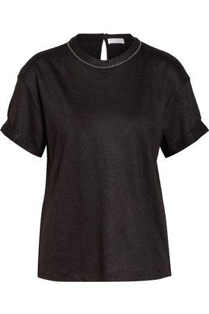 Brunello Cucinelli T-Shirt Mit Glitzergarn Und Schmucksteinbesatz