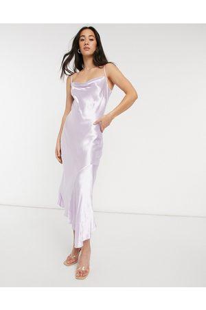 Closet Cowl neck asymmetric satin midi dress in lilac-Purple