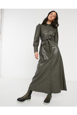 ASOS Leather look maxi shirt dress in olive-Green