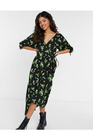 ASOS Cotton poplin smock wrap midi dress in green floral-Multi