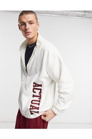 ASOS Zip through jacket in polar fleece with embroidery in cream