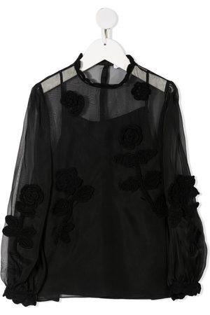 Dolce & Gabbana Kids Mädchen Blusen - Embroidered sheer blouse