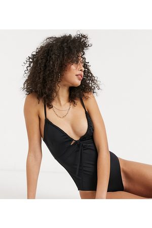 ASOS ASOS DESIGN tall recycled ruched tie swimsuit in black