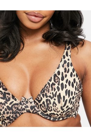ASOS Fuller bust mix and match rib step front underwired bikini top in leopard print-Multi