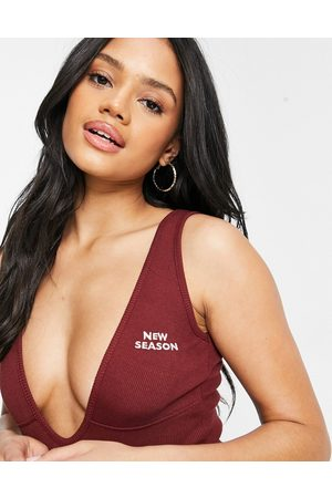 Public Desire Plunge body with logo front in chocolate-Brown