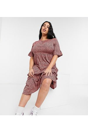 Yours Frill sleeve midi smock dress in pink animal print