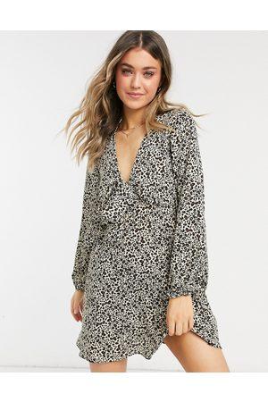 ASOS Tie front mini tea dress with long sleeves in animal print-Multi
