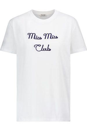 Miu Miu Besticktes T-Shirt aus Baumwolle