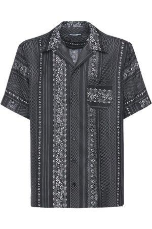 Dolce & Gabbana Herren Shirts - Bowlinghemd Aus Seide Mit Druck