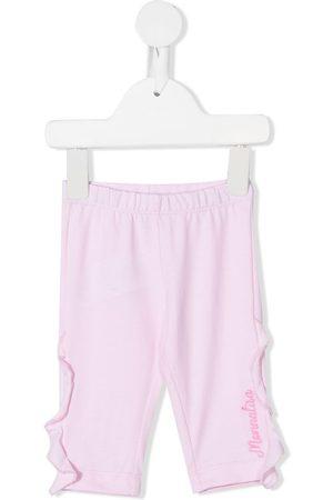 MONNALISA Baby Leggings & Treggings - Ruffle-trim embroidered-logo leggings