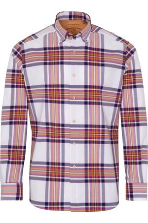 Eterna Herren Lange Ärmel - LANGARM HEMD REGULAR FIT UPCYCLING SHIRT OXFORD LILA/ORANGE