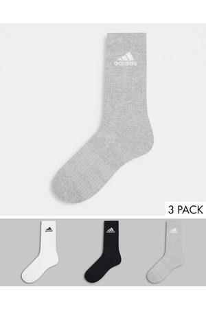 adidas Adidas Running 3 pack cushioned crew socks in multi-Black