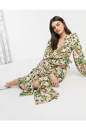 ASOS Wrap front maxi dress in rose bloom print-Multi