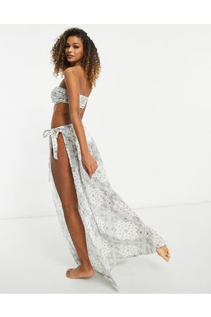 ASOS Sarong beach skirt co-ord in crinkle bandana print-Multi