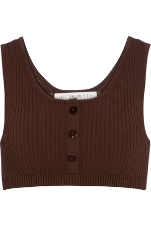 LIVE THE PROCESS Cropped-Top Henley aus Rippstrick