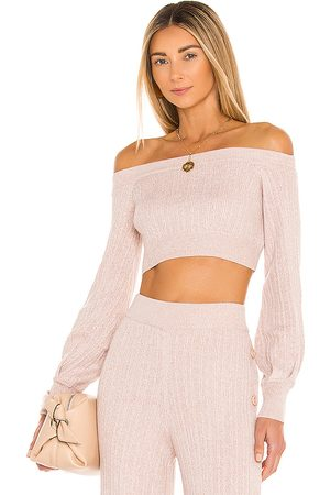 Michael Costello X REVOLVE Kalina Sweater in - Taupe. Size L (also in M, S, XL, XS, XXS).