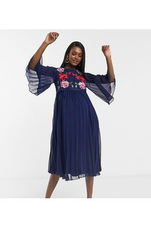 ASOS ASOS DESIGN Maternity double layer pleated embroidered midi dress in navy
