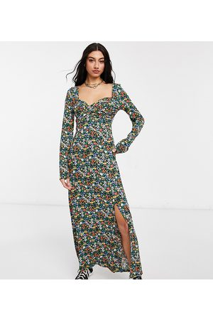 ASOS ASOS DESIGN Tall wrap front long sleeve split front maxi in bright ditsy floral print-Multi