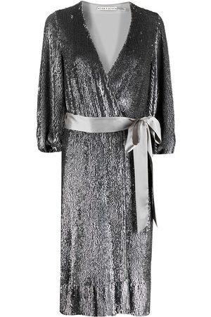 ALICE+OLIVIA Sequin-embellished V-neck dress