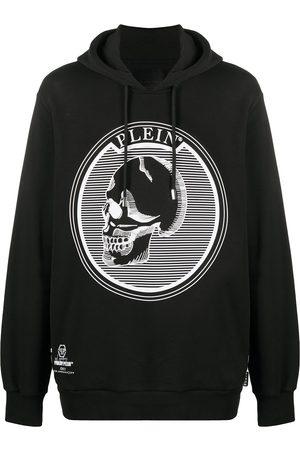 Philipp Plein Outline skull hooded longline sweatshirt