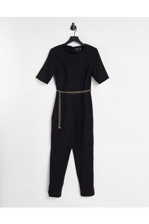 ASOS Short sleeve jumpsuit with gold chain in black