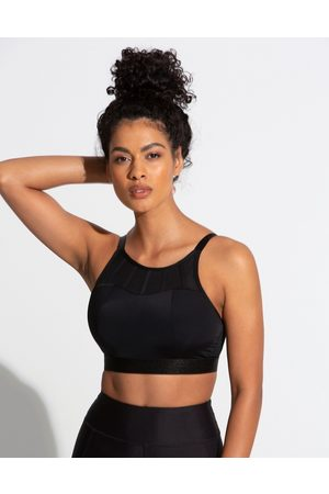 Pour Moi Fuller Bust Energy high neck padded non wired sports bra in black