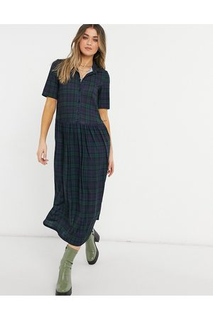 ASOS Shirt midaxi dress with short sleeves in dark green and blue check print