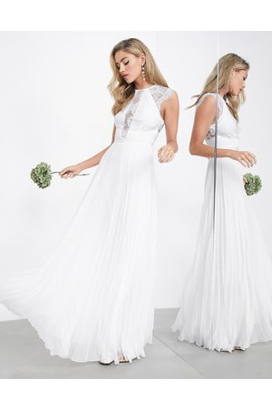 ASOS Ruby delicate lace bodice wedding dress with pleated skirt-White