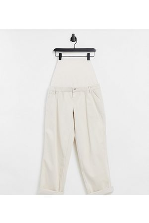 ASOS Damen Chinos - ASOS DESIGN Maternity slouchy chino trouser in cream with over the bump band