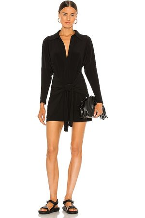 Norma Kamali Tie Front NK Shirt Mini Dress in - . Size L (also in M, S, XL, XS).