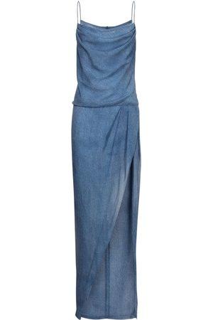 Balmain Langes Kleid Aus Seide Mit Denimeffekt