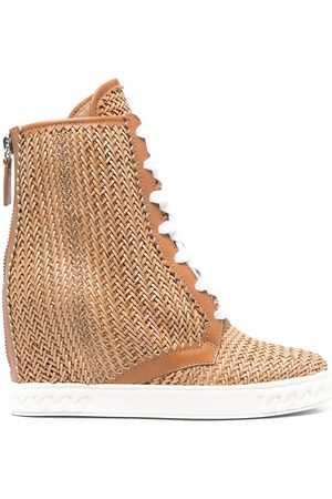Casadei Damen Stiefel - Ina 80mm woven wedge boots