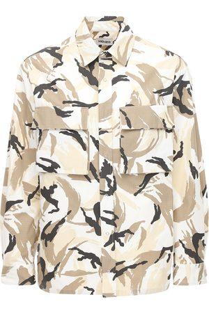 Kenzo Herren Shirts - Hemd Aus Baumwollripstop Mit Tarnfarbendruck