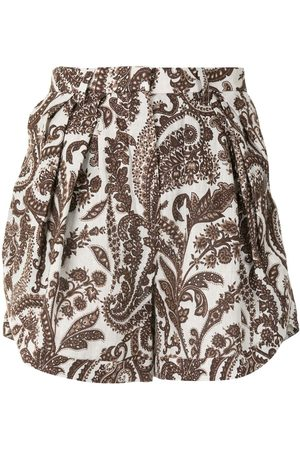 Rosie Assoulin Pleated paisley-print shorts