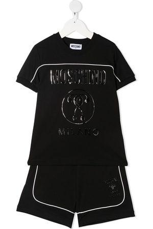 Moschino Wet-look logo print tracksuit set