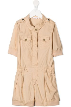Chloé Kids Mädchen Jumpsuits - Short-sleeve cotton playsuit