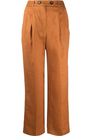 12 STOREEZ Damen Weite Hosen - Pleated linen wide leg trousers