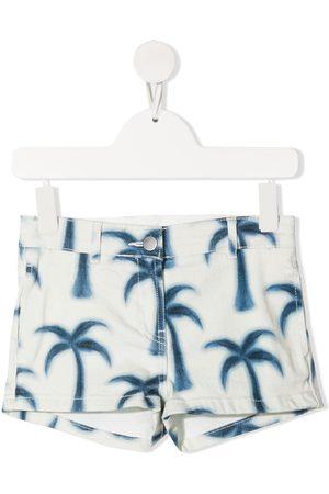 Stella McCartney Kids Palm tree-print denim shorts