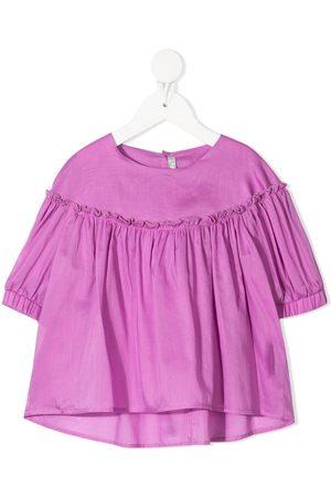 Il gufo Ruched-detail cotton blouse