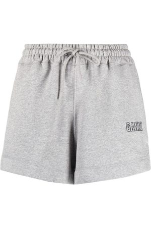 GANNI Logo-embroidered cotton shorts